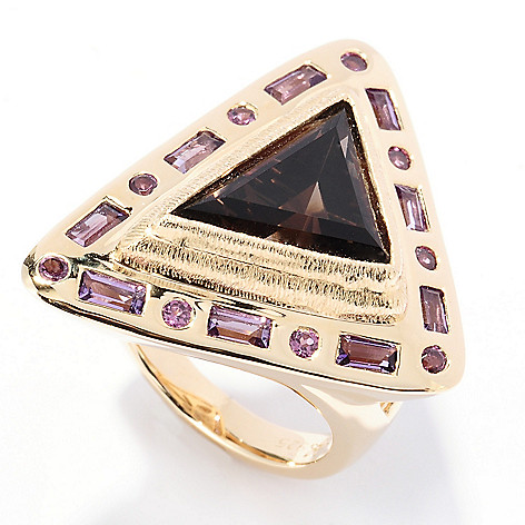 130-512 - Michelle Albala 4.51ctw Smoky Quartz, Amethyst & Garnet Triangle Ring