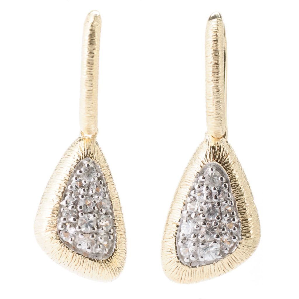"130-513 - Michelle Albala White Sapphire Brushed Triangular 1.25"" Drop Earrings"