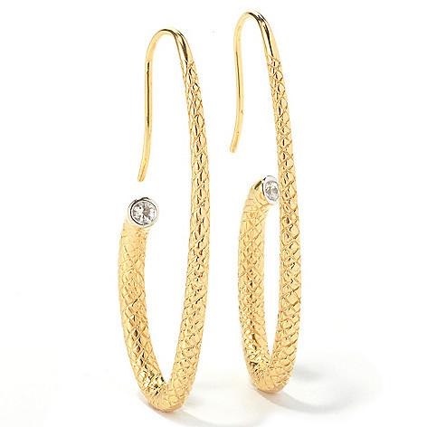130-515 - Michelle Albala Gemstone Elongated & Textured J-Hoop Earrings