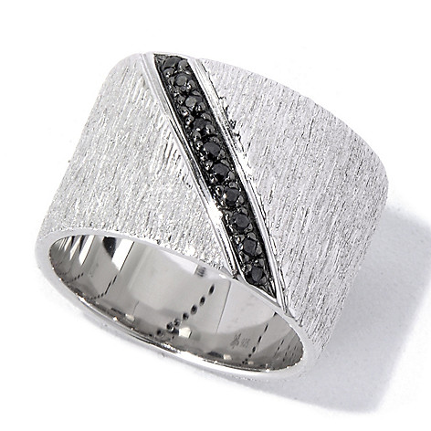 130-517 - Michelle Albala Black Spinel Brushed Cigar Band Ring