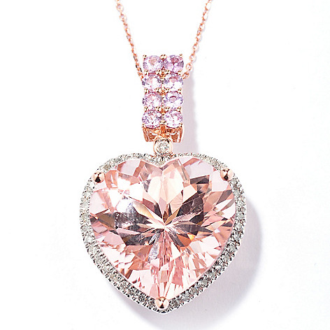 130-519 - Gem Treasures 14K Rose Gold 10.48ctw Morganite Sapphire & Diamond Pendant w/ Chain