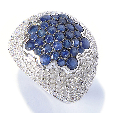 130-520 - Gem Treasures Sterling Silver 6.88ctw Blue Sapphire & Diamond Dome Ring