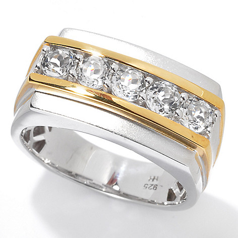 130-524 - Men's en Vogue 1.50ctw White Topaz Matte Finished Five-Stone Ring