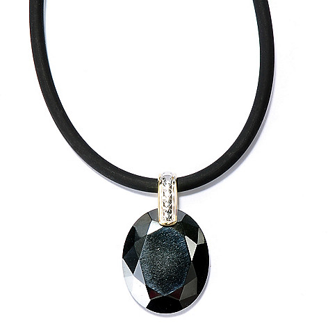 130-527 - Men's en Vogue II 22 x 18mm Hematite Pendant w/ 22'' Rubber Cord