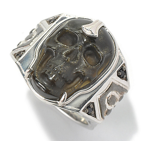 130-528 - Men's en Vogue 24 x 16mm Carved Gemstone Skull & Black Spinel Ring