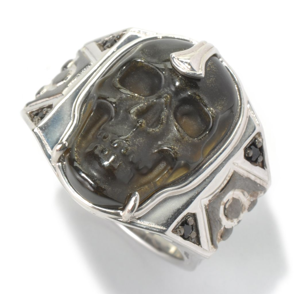 130-528 - Men's en Vogue 24 x 16mm Carved Gemstone Skull & Black Spinel Ring