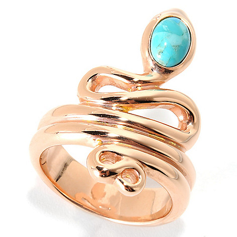 130-530 - Portofino 18K Gold Embraced™ 7 x 5mm Turquoise Snake Ring
