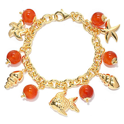 130-532 - Portofino 18K Gold Embraced™ 7.75'' Gemstone Bead & Seaside Charm Bracelet
