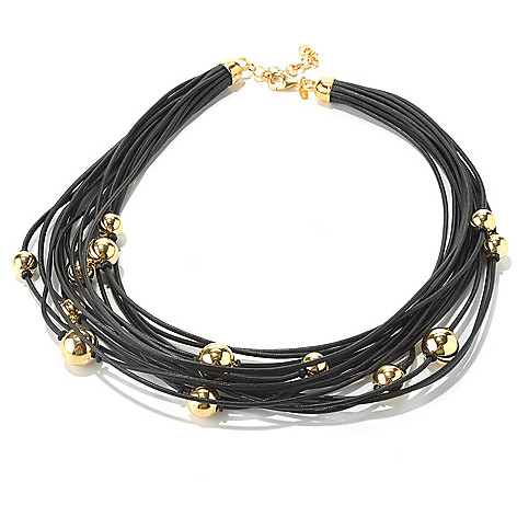 130-533 - Portofino Gold Embraced™ 18'' Multi Cord Scattered Bead Necklace