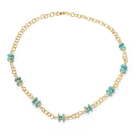 130-534 - Portofino Gold Embraced™ 24'' Turquoise Disk Station Necklace