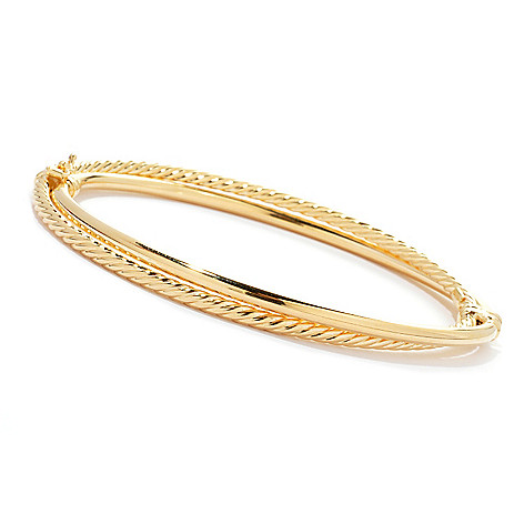130-537 - Portofino Gold Embraced™ 7.25'' Polished & Twisted Hinged Bangle Bracelet