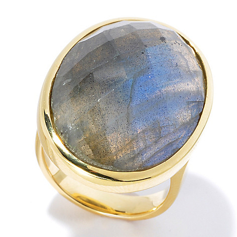 130-538 - Portofino 18K Gold Embraced™ 25 x 18mm Faceted Labradorite Ring
