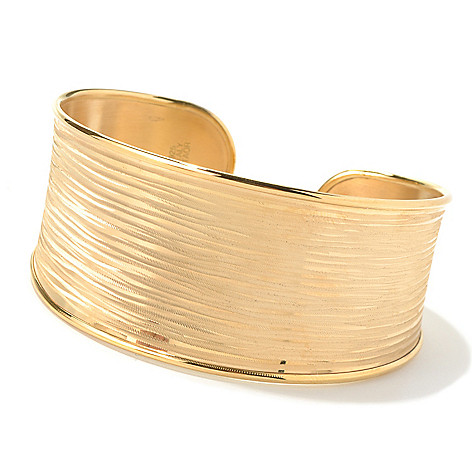 130-540 - Portofino 18K Gold Embraced™ 7.25'' Textured Striped Cuff Bracelet