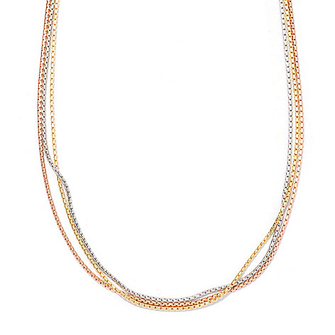 130-543 - Portofino 18K Gold Embraced™ 20'' Three-Strand Fancy Box Link Necklace