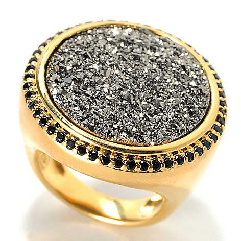 130-545 - Portofino 18K Gold Embraced™ 20mm Round Drusy & Black Spinel Ring