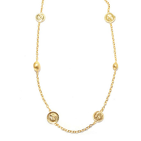 130-546 - Portofino Gold Embraced™ 42'' Coin & Satin Finished Bead Station Necklace