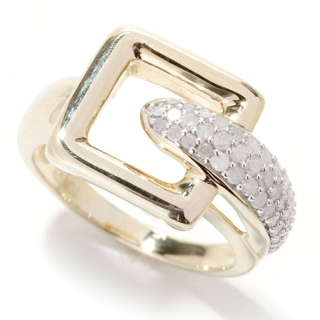 130-555 - Southport Diamonds Sterling Silver & 14K Vermeil 0.50ctw Diamond Square Buckle Ring