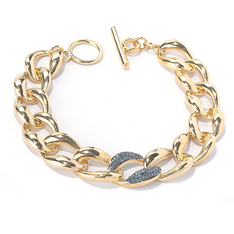 130-568 - Southport Diamonds Sterling Silver 14K Vermeil 0.33ctw Diamond Toggle Bracelet