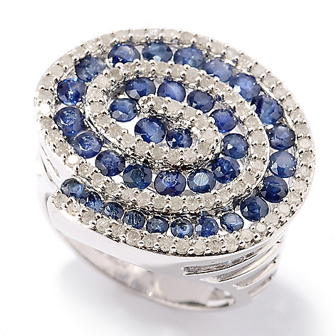 130-570 - Diamond Treasures Sterling Silver Fancy Color Sapphire & Diamond Swirl Ring