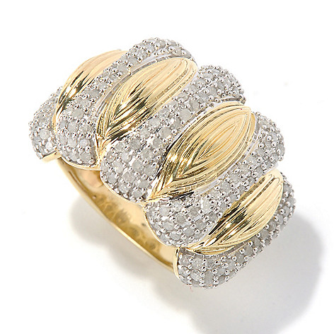 130-576 - Southport Diamonds Sterling Silver & 14K Vermeil 1.64ctw Diamond Textured Wide Ring