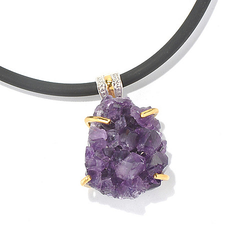 130-578 - Men's en Vogue II 17mm Crystallized Amethyst Pendant w/ 22'' Rubber Cord