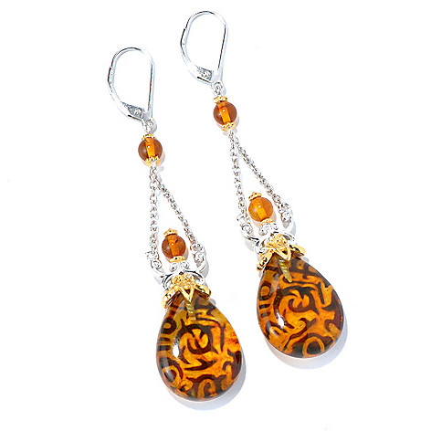 130-581 - Gems en Vogue II 20 x 15mm Carved Amber Intaglio Pear Shaped Drop Earrings