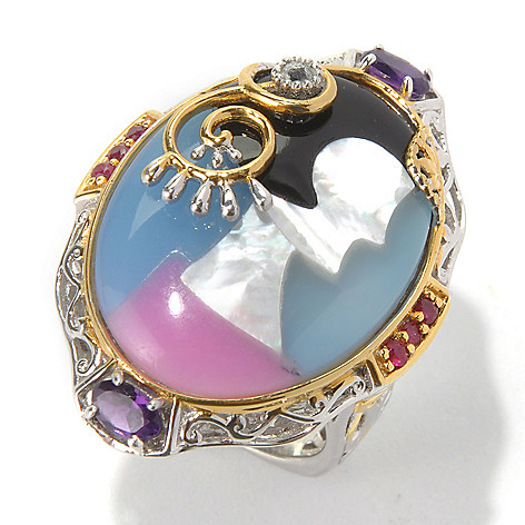 130-583 - Gems en Vogue II 26 x 19mm Multi Gemstone Inlay Portrait Ring