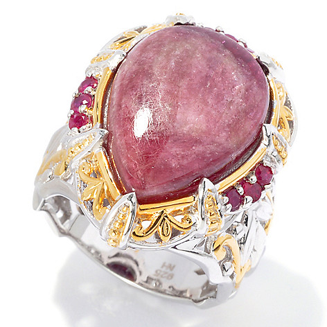130-597 - Gems en Vogue II 18 x 13mm Pear Shaped Pink Tourmaline & Ruby Ring