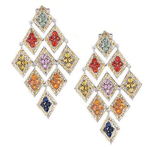 130-601 - Gems en Vogue II 5.76ctw Multi Gem Diamond Shaped 2'' Chandelier Earrings