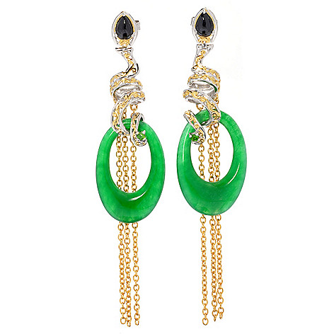 130-602 - Gems en Vogue II Green Jade, Spinel & Chrome Diopside 3'' Tassel Drop Earrings