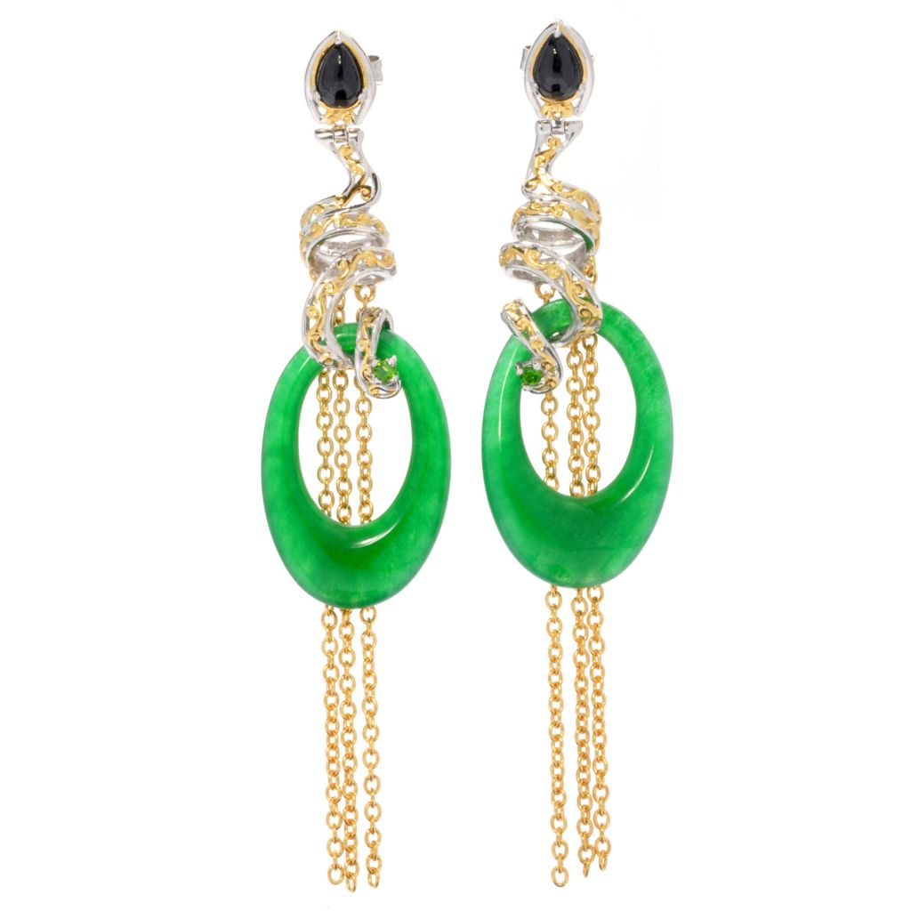 "130-602 - Gems en Vogue II Green Jade, Spinel & Chrome Diopside 3"" Tassel Drop Earrings"