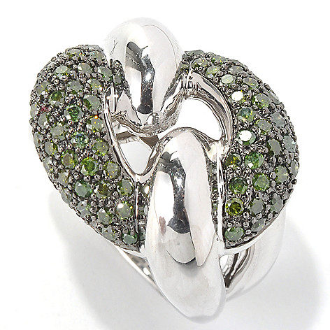 130-611 - Diamond Treasures Sterling Silver 1.40ctw Green Diamond Pave Interlink Ring