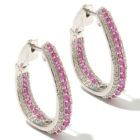 130-612 - Diamond Treasures Sterling Silver 3.45ctw Diamond & Fancy Sapphire Hoop Earrings