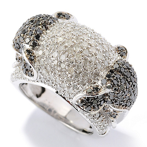130-614 - Diamond Treasures Sterling Silver 2.39ctw Black & White Diamond Elephant Ring