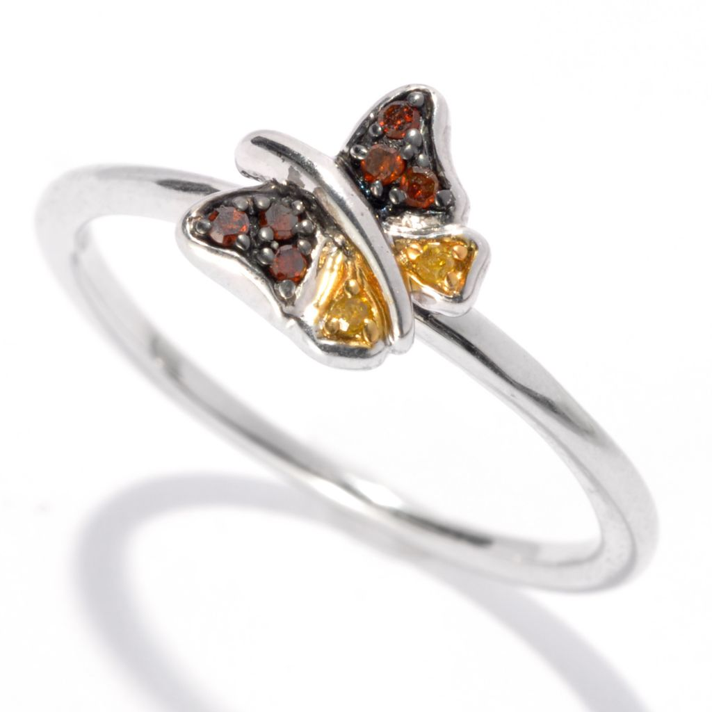 130-616 - Diamond Treasures Sterling Silver Fancy Colored Diamond Nature-Inspired Ring