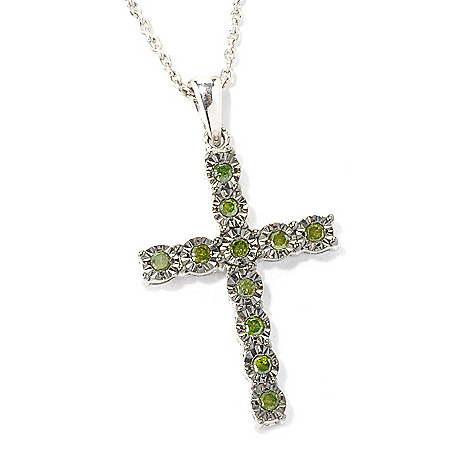 130-617 - Sterling Silver 0.20ctw Fancy Color Diamond Cross Pendant w/ 18'' Chain