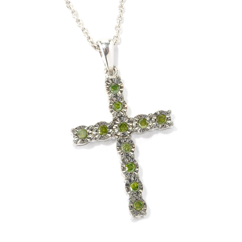 "130-617 - Sterling Silver 0.20ctw Fancy Color Diamond Cross Pendant w/ 18"" Chain"