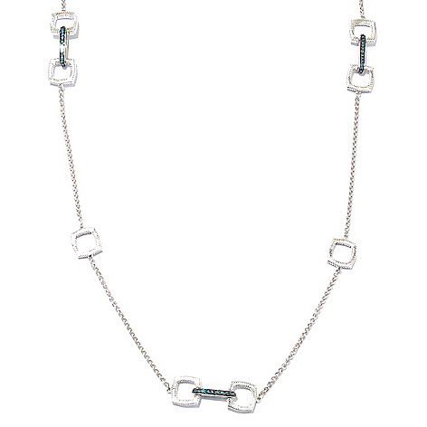130-618 - Diamond Treasures Sterling Silver 36'' 1.43ctw Fancy Color Diamond Station Necklace