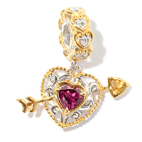 130-620 - Gems en Vogue Rhodolite & Citrine Heart-Arrow Drop Charm