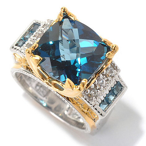 130-621 - Gems en Vogue II 6.91ctw London Blue Topaz & White Sapphire Ring