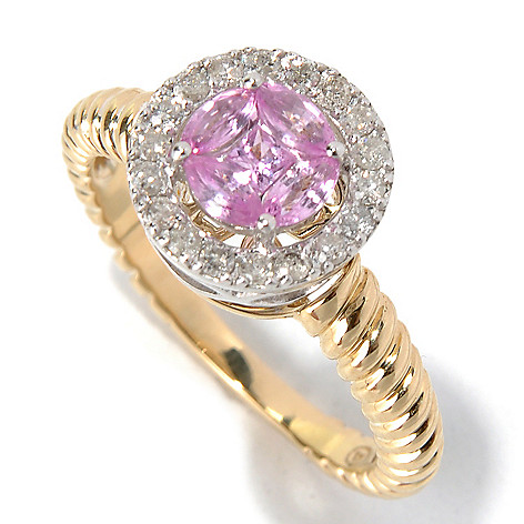 130-623 - Beverly Hills Elegance 14K Two-tone Gold Pink Sapphire & Diamond Halo Ring