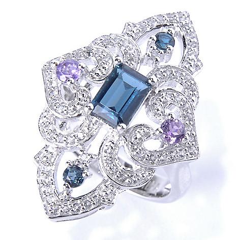 130-632 - Gem Insider Sterling Silver 1.77ctw Multi Topaz & Amethyst Marquise Ring