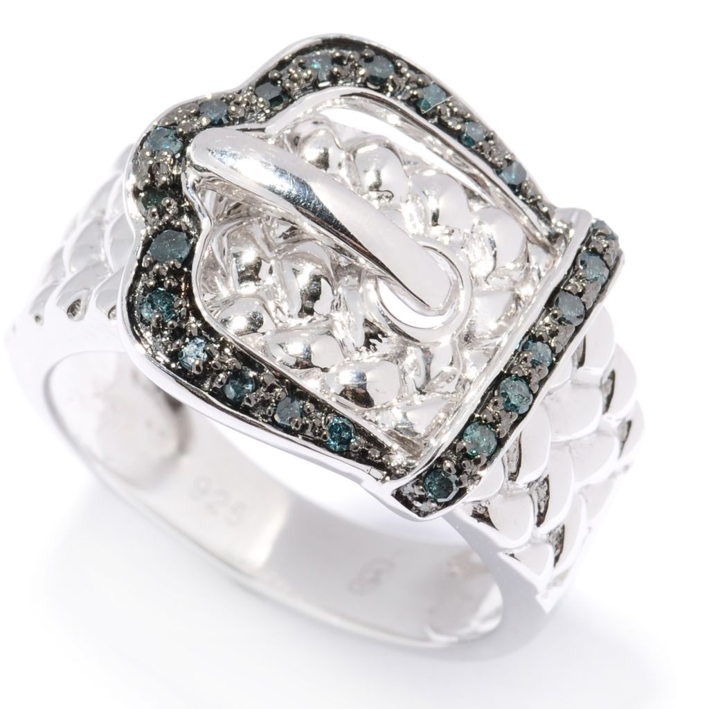 130-633 - Diamond Treasures 0.20ctw Fancy Colored Diamond Buckle Ring