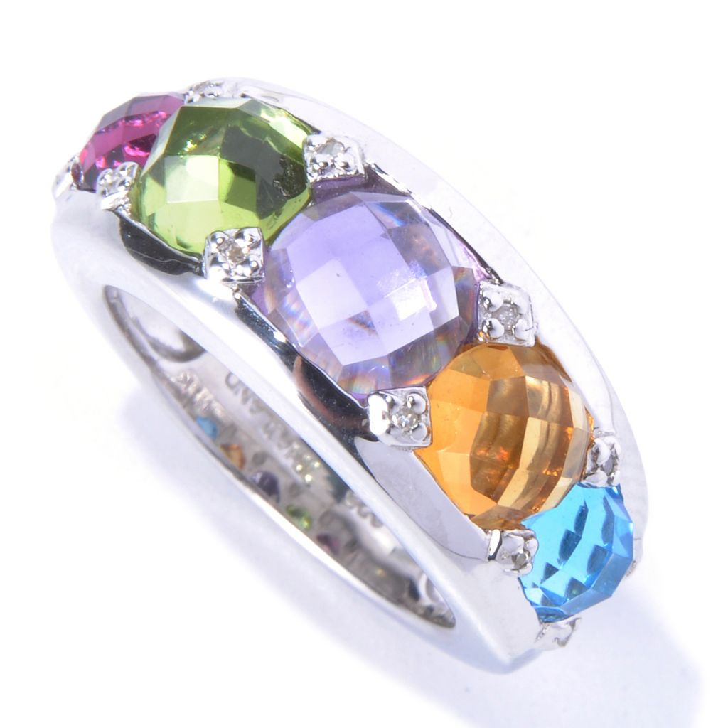 130-635 - Gem Insider Sterling Silver 3.55ctw Multi Gemstone & Diamond Wide Band Ring