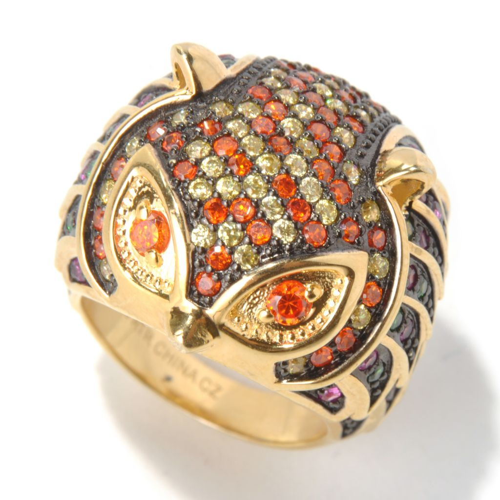 130-639 - Neda Behnam Gold Embraced™ 2.72 DEW Simulated Diamond Multi Color Owl Ring