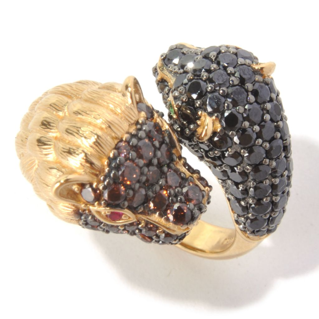 130-656 - Neda Behnam 2.83 DEW Gold Embraced™ Simulated Diamond Lion & Panther Bypass Ring