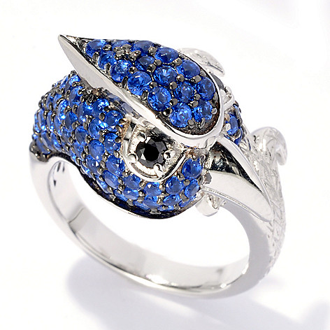 130-657 - Neda Behnam Platinum Embraced™ 1.80 DEW Simulated Diamond Blue Jay Ring
