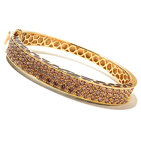 130-658 - Neda Behnam 7.37 DEW Simulated Diamond Animal Print Hinged Oval Bangle Bracelet