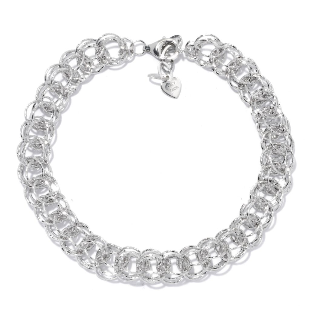 "130-660 - Palatino™ Platinum Embraced™ 8.5"" Diamond Cut Multi Sphere Link Bracelet"