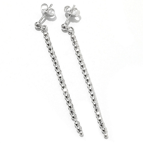 130-663 - Palatino™ Platinum Embraced™ 2.25'' Diamond Cut Bead Drop Earrings